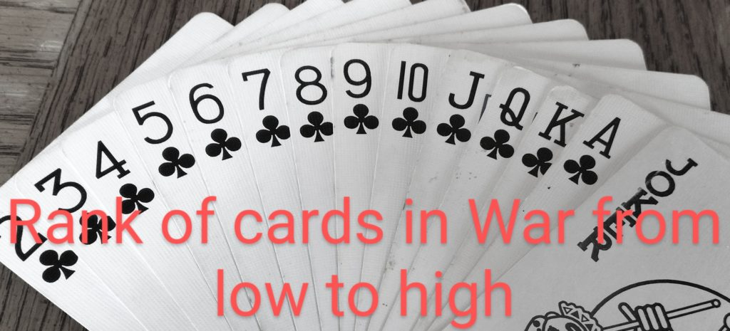 rank of cards for war card game